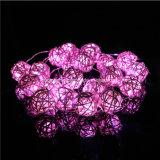 2m 20LEDs Battery Operated String Fairy Pink Timer Rattan Balls Light Christmas Wedding Holloween Valentine Decoration