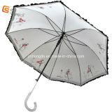Black Electro Metal Frame Lace Straight Umbrella (YS-1004A)