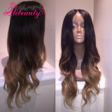 100% Human Hair Wavy Full Lace Wig 1bt#2t#27