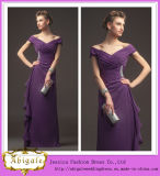 Hot Sale New Fashion Floor-Length Sheath off-The -Shoulder Purple Bridesmaid Dresses Corset Back (WD142)