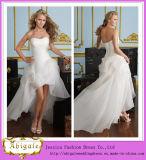 2014 Charming A Line Strapless Sleeveless Ruffle Hi-Lo Asymmetric Short Wedding Dresses (hs027)