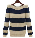 Ladies Fashion Acrylic Knitted Striped Sweater (YKY2008)
