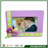 Modern Purple Wooden Photo Frame with Flowers