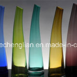 Colorful Glass Vase with Slant Top (V-112)