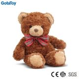 High Quality Brown Color Teddy Bear with Curly Plush and Ribbon