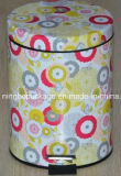 Metal Tinplate Color Printed Colorful Dustbin with Floral Design