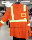 Work Pants and Shirt with Reflective Tapes T/C Fabric Safety Uniform