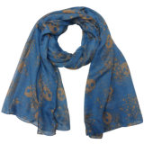 Lady Fashion Polyester Voile Scarf with Skull Print (YKY4214)