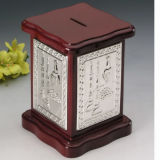Silver Plated with Wooden Money Box (BW 10162 DOR)