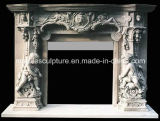 Statue Surface Carved Marble Fireplace Surround Mantel (SY-MF187)