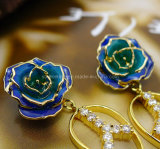 Fashion Accessories - 24k Gold Rose Earrings for Wedding Gifts (EH013)