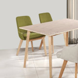Solid Wood Legs Fabric Dining Chair