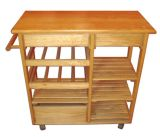 Chinese Fir Four Layers Storage Cart with Wheels