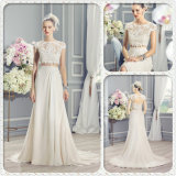 French Lace Appliques Keyhole Two-Piece Boho-Chic Wedding Dress (Dream-100083)