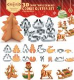Wholesale Stainless Steel Baking Tools Cookies Mold 8 PCS 3D Christmas Cookie Cutter Set