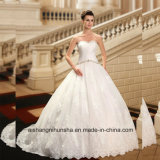 Simple Pleats Beads Tull Ball Gown Bridal Wedding Dress Wd002