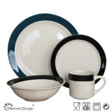White Color with Blue Rim Hand Painting 16PCS Dinner Set