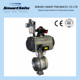 Flanged End Pneumatic Ball Valve with Handwheel and Accessories