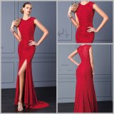 Round Neckline Bridesmaid Dresses Lace Split Sexy Prom Party Prom Dresses Ay5702