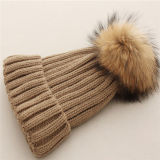 Real Raccoon Fur Bobble Ball Hat Fluffy Poms Knit Hat