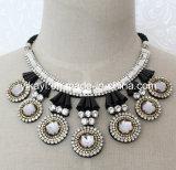 Lady Fashion Jewelry Grey Round Glass Crystal Collar Necklace (JE0194)