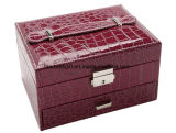 Two-Layer Lint Jewelry Box Leather Makeup Mirror Organizer Storage