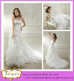 2014 Latest Designers Elegant Whie Princess Style Wedding Dresses with Strapless Lace up Back Layered Organza Jacket