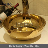 Luxury Gold Color Handmade China Porcelain Sink for Hotel (C-1022B)