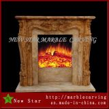 Egyptian Beige Marble Fireplace with Column