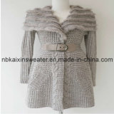 Lady's Beige Wool Sweater with Fur (KX-W11)
