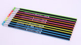 Hb Wooden Pencil with Strip Neon Color Barrel