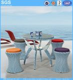 Round Dining Table Set Blue Color PE Rattan Weaving Furniture Garden Furniture