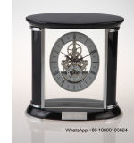 Oval Shape Top Black Piano Wood and Glass Table Clock