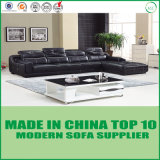 Nordic Style Modern Leather Corner Sofa with Wooden Frame