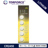 3V CR2450 Non-Rechargeable Button Cell Lithium Battery with Ce for Toy