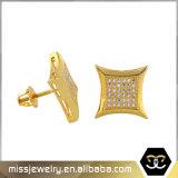 Kite Shape Hip Hop Gold Stud Earrings for Men Mjce002