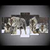 HD Printed Wolf Pack Snow Animal Painting on Canvas Room Decoration Print Poster Picture Canvas Mc-018