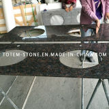 Wholesale Tan Brown Granite Tile Kitchen Countertops with Double Sink
