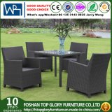 Outdoor Rattan Wicker Garden Patio Furniture Dining Chair Table Set with Glass (TG-1663)