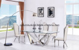 Mirror Glass Design Stainless Steel Base Wedding Table Dining Table Set