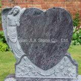 Bahama Blue Granite European Style Angel Heart Gravestone