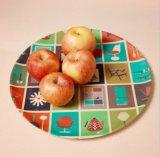 Eco-Friendly Bamboo Fiber Kitchenware Print Round Plate (YK-P3002)
