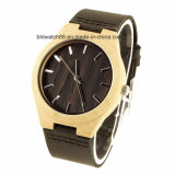 Mens Wooden Watches Black Cowhide Leather Strap Casual Watch for Gift