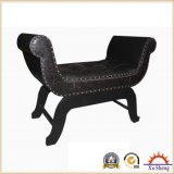 Upholstery Studded Faux Leather Wooden Antique U Shape Bench Ottoman