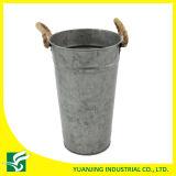 Home Garden Decoration Metal Zinc Bucket with Hemp Rope Handle