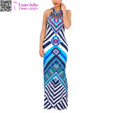 Blue Tribal Print Halter Backless Slit Sexy Bodycon Plus Size Maxi Dress L51408-1