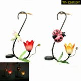 Metal Garden Decoration Solar Light Hanging Lantern with Transparent Flower