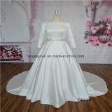 Long Sleeve Muslim Satin Bridal Gown