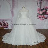 High Neck Long Sleeve Lace Ball Gown