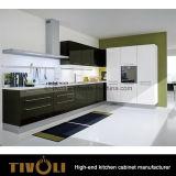 White Kitchen Cabinets and Black Island Design Kitchen Furniture (AP096)